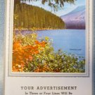 Salesman Calendar Sample Vintage 1956 - Paradise Lake