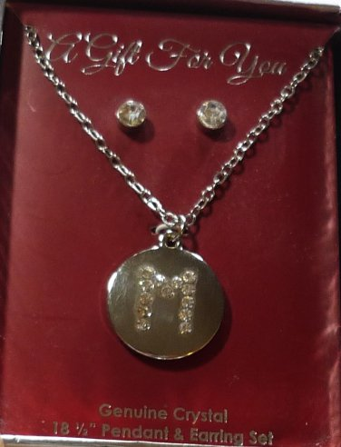 NIB Genuine Crystal 18.5 inch Necklace Initial M Pendant and Earring Set