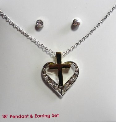 New: Heart and Cross 18 inch Necklace and Earring Set