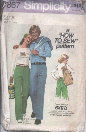 1977 Vntg Simplicity Pattern 7867 Junior/Teen Sz 9/10 Pants and Hand Bag