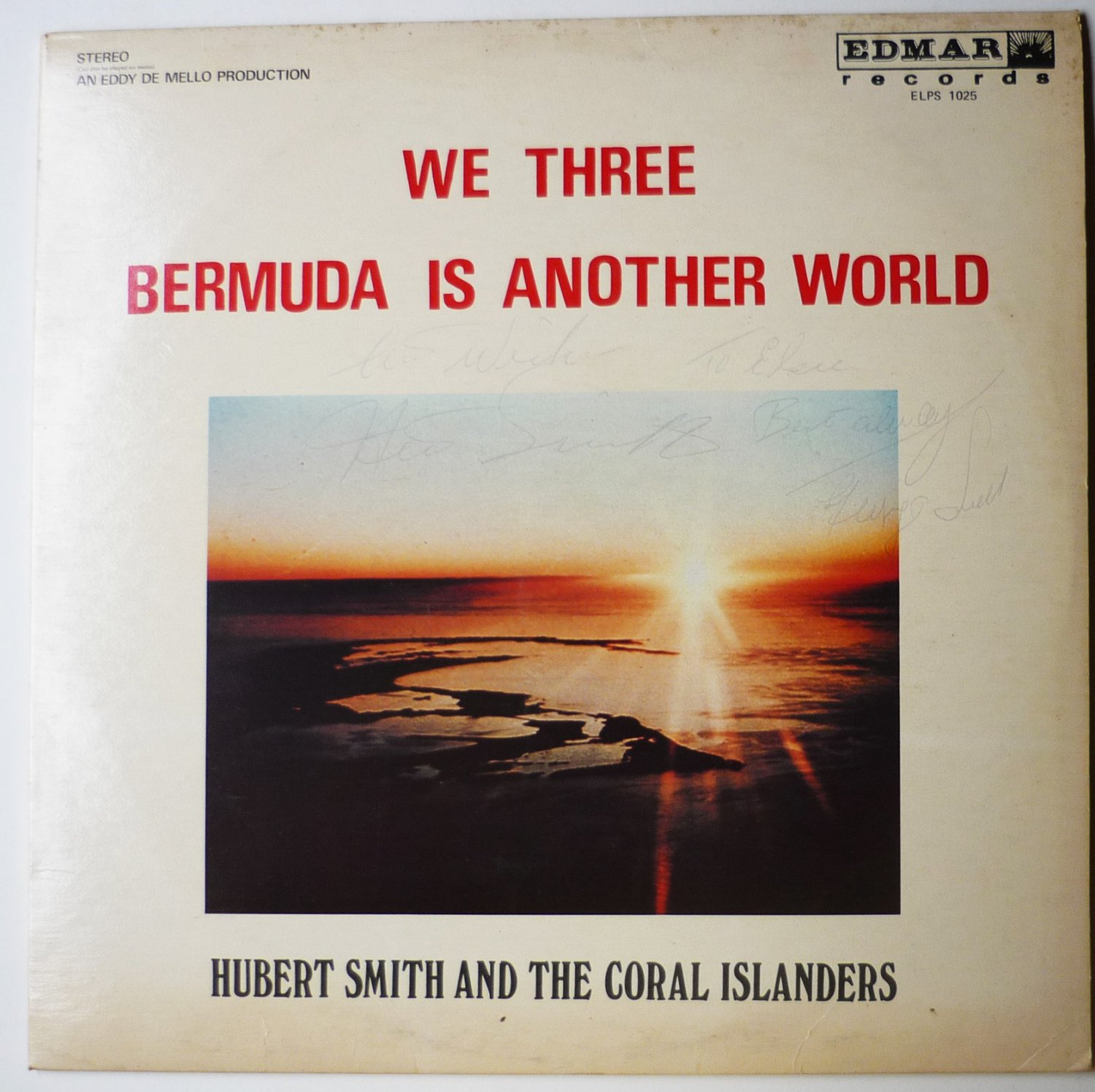 We Three - Bermuda Is Another World Autographed lp by Hubert Smith