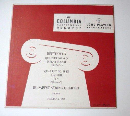 Beethoven Quartet No 6 in B-Flat Major Quartet No 11 in F Minor lp by Budapest String Quartet