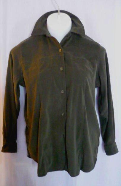 Fashion Bug Moleskin Button Down Shirt Top Sz 14/16 - Dk Olive Green