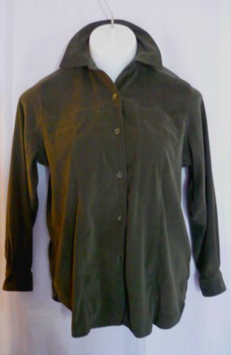 Fashion Bug Moleskin Button Down Shirt Top Sz 14/16 - Dk Olive Green