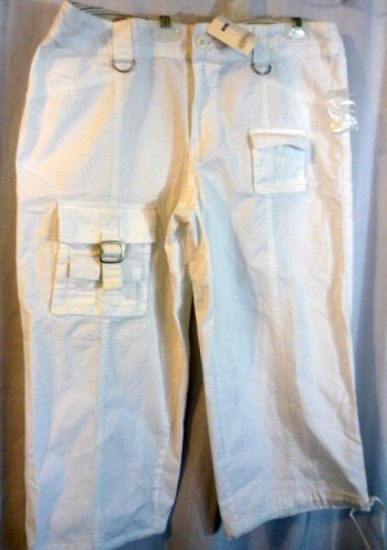NWT Allison Brittney 6 Pocket White Crop Capri Pants Size 14