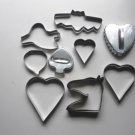 Lot of Nine Tin Various Holiday Cookie Cutters Halloween, Valentine +