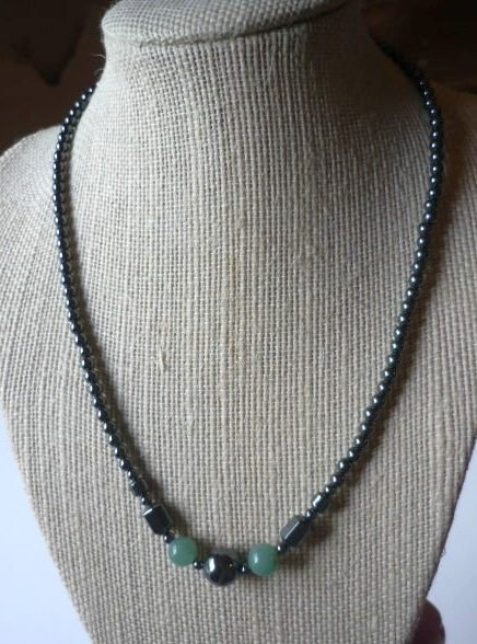Hematite and Aventurine 18 inch Necklace - New -