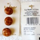 Five Vintage Faux Leather La Mode Tan Buttons Orig Card 3/4 Inch Made in Italy