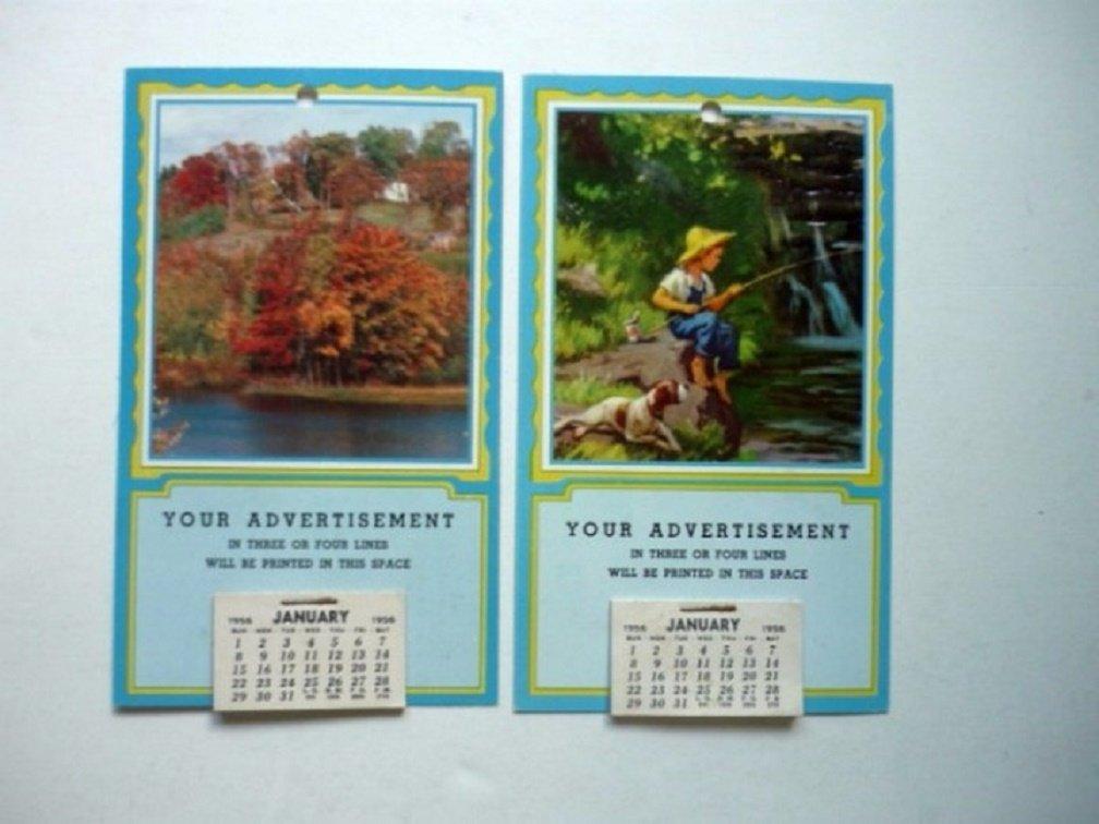 TWO Vintage 1956 Salesmans Pocket Calendar - Samples - Fall and Boy w Dog Fishing