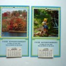TWO Vintage 1956 Salesmans Pocket Calendar - Samples - Fall and Boy w Dog Fishing