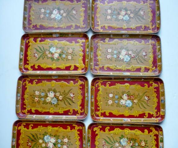 Set of Eight Sushi or Serving Trays Marked Japan 8.5 x 5 Inch