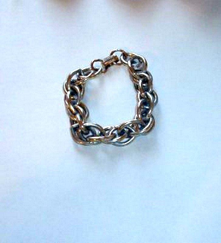 Chunky Link Silver Tone Bracelet 1970s Era