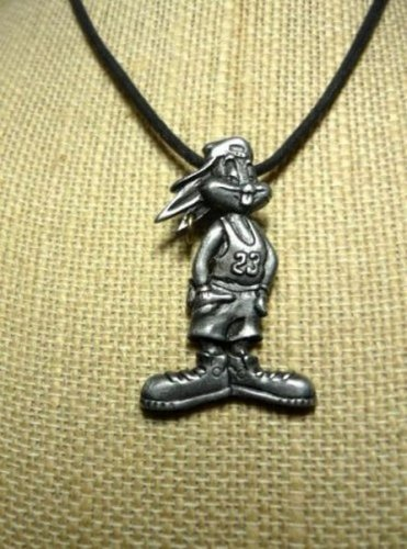 Bugs Bunny Choker and Charm Warner Bros Looney Tunes Pewter Peace Rapper - Rare