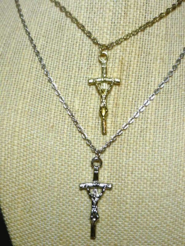 Cross on 20 Inch Necklace Color Choice