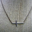 Sideways Cross Necklace Two Tone DBJ 925 SS Rhinestone