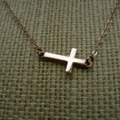 Sterling Silver 925 Dainty Sideways Cross Necklace by BZK 14kgf