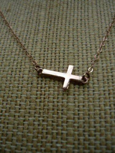 Sterling Silver 925 Dainty Sideways Cross Necklace by BZK 14kgf