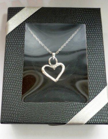 April Birthstone Heart Necklace NIB