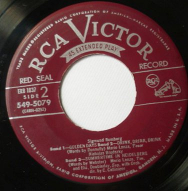 The Hit Songs From The Student Prince 45 by Mario Lanza