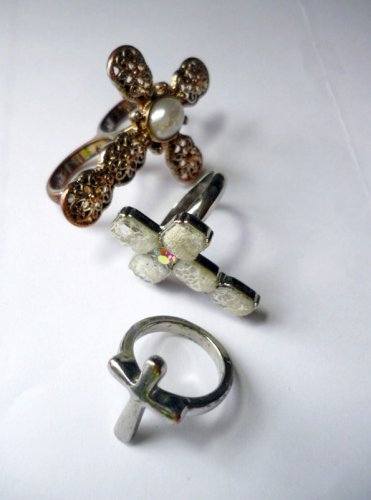 Three Cross Rings Sz 7 Different and Unique Incl 2 Finger - Religious