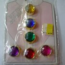 NIP Vntg Set of Six Jeweled Rhinestone Golden Button Covers Vntg