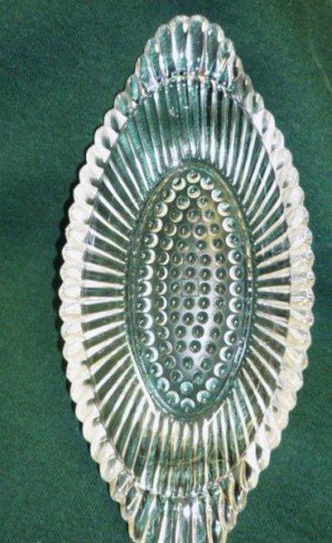 Vintage Pressed Glass Candy Relish Dish Hobnail Oval Shape