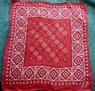 Vintage Red All Cotton Fast Color RN 13962 Diamond Pattern Bandana