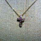 Pink and Clear Stone Cross 18 inch Necklace Marked C95