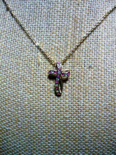 Pink and Clear Stone Cross Necklace Marked C95