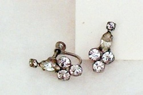 Shimmering Rhinestone Earrings Screw Back - Gorgeous - Vintage