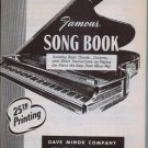 Dave Minors Famous Song Book for Piano - Rare - 25th Printing