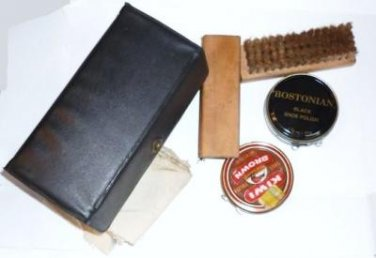 Shoe Polish Kit by Griffin with Polish Brushes Cloths in Original Case