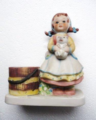 Vntg WA Bisque Votive Candle Holder Pigtails Girl Holding Piglet or Puppy 1980