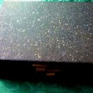 Vintage Jewelry Box Black w Gold and Silver Speckles - Red Velvet Lining