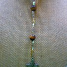 New Tigers Eye and Faux Pearl and Beaded 30 in Rosary Necklace Silvertone Cross