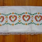Pair of White Pillowcases with Embroidered Hearts n Lace Orange Yellow n Green