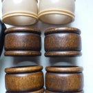 6 Napkin Rings Wood and Plastic - Bakelite
