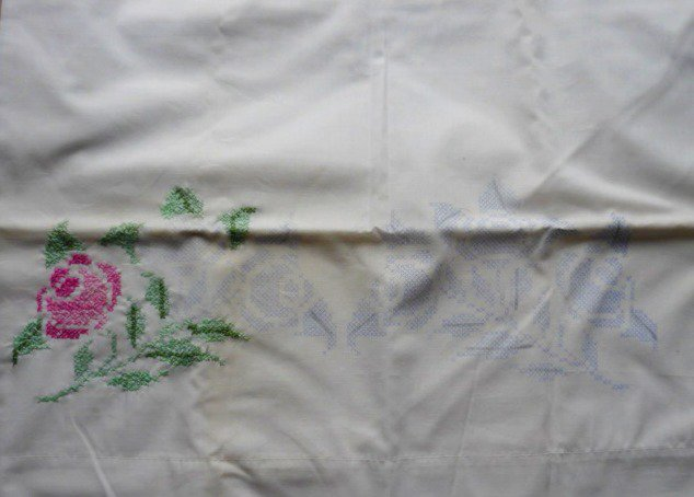 Cross Stitch Pillowcase Partially Completed Rose