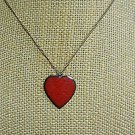 Enameled Heart on an 18 inch Gold Tone Necklace - Estate Find