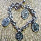 Vintage Guardian Angel Saint Bracelet Unsigned Ruega Por Nosotros - Italy