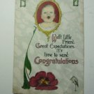 Antique Postcard Congratulations Baby Unposted, No writing - Made in USA