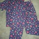 Liz Sport Liz Claiborne Navy Floral Top and Pants Outfit Ladies Sz Medium Large