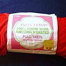 Virgin Wool Knitting Yarn Anita Lewis Scarlet Red 3 oz
