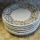 Paden City Pottery Set of 6 Saucers Gold Filigree Design