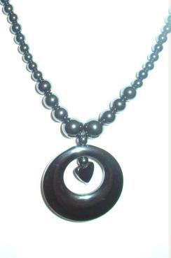 New: Hematite Heart Charm on 18 inch Hematite Gemstone Necklace