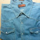 CANYON GUIDE OUTFITTERS Denim Blue Jean L/S Snap-up Shirt Mens 4X Western
