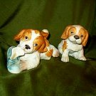 Retired Homco Puppies Numbers 1405 and 1407 Gold Labels Included