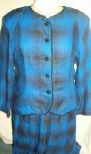 Intriguing Threads 2 Piece Career Suit Ladies Size M - L Lk New Blue Check