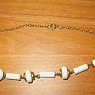 Choker with White and Gold Stations Retro 70s - Estate Find