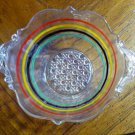 Antique Depression Glass Anchor Hocking Multi Color Banded Ring Bowl - Rare